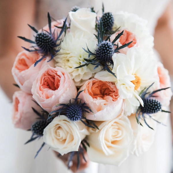 Bee Inspired Events - Bridal bouquet with David Austin garden roses, white dahlias and blue thistle