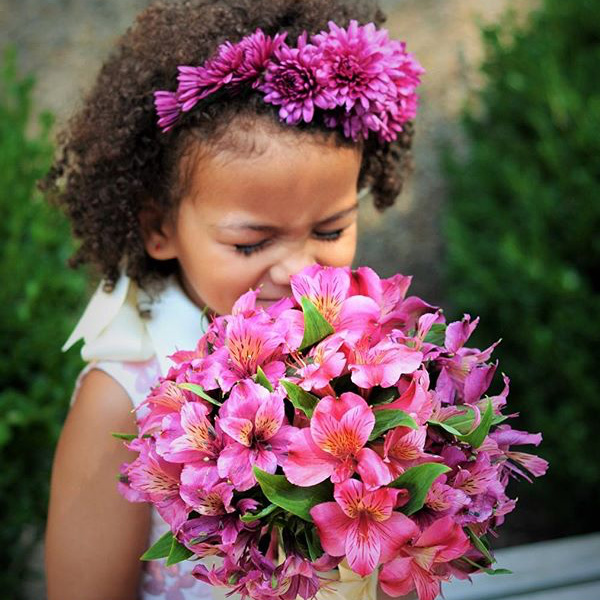 Bee Inspired Events - Pink flower crown and bouquet for flower girl