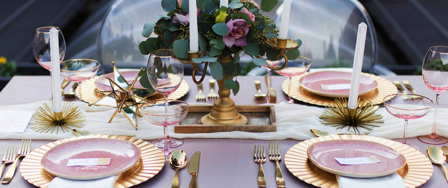 Bee Inspired Events - Dusty pink and gold tablescape