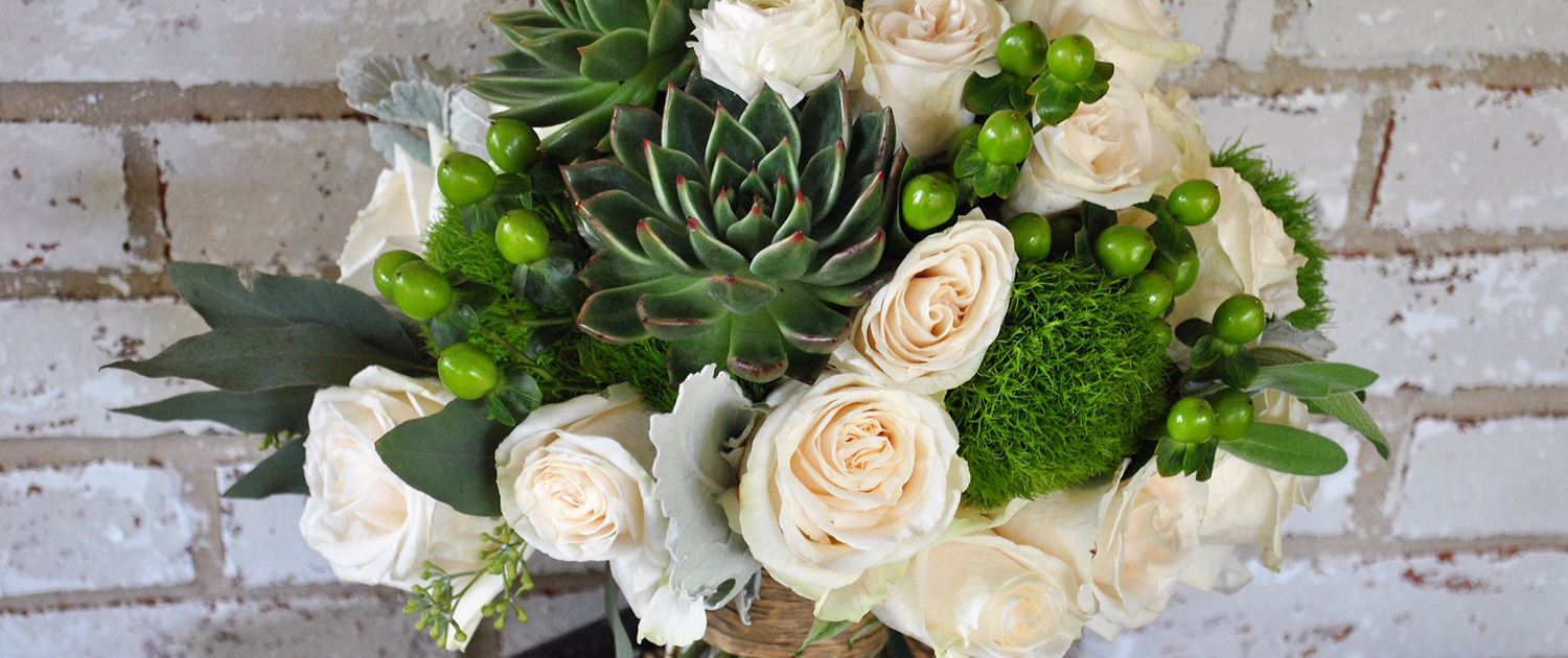 Bee Inspired Events - Bridal bouquet with roses and succulents