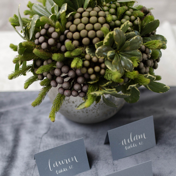 Bee Inspired Events - Grey and green place cards table